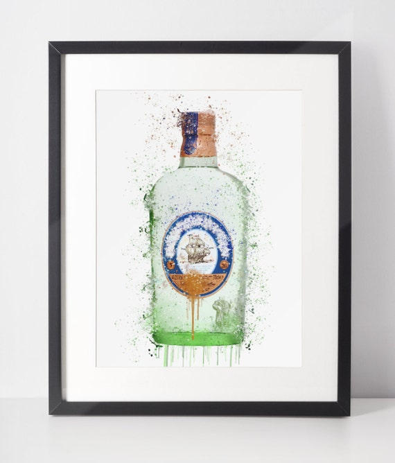 Gin Poster | Room Decor | Wall Art Print | Gift Idea | A4 & A3 | Navy | Print Only