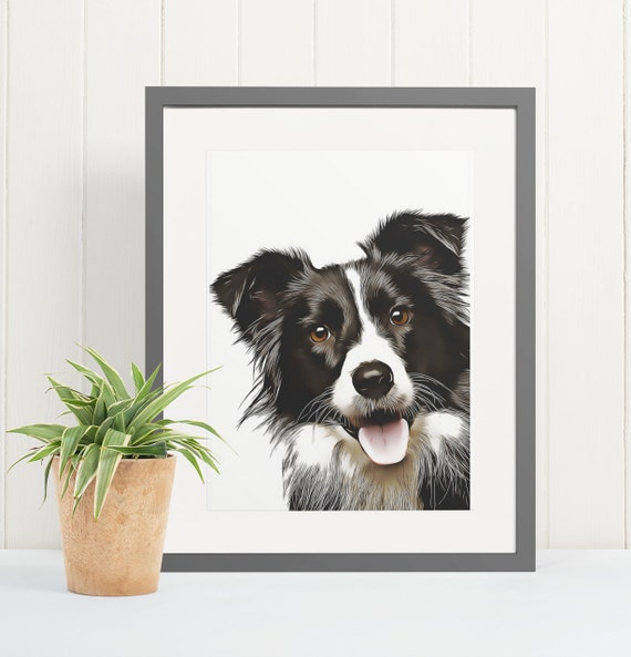 Border Collie | Art Print Poster | Room Decor | Wall Art Print | Gift Idea | A4 & A3 | Dog | Print Only