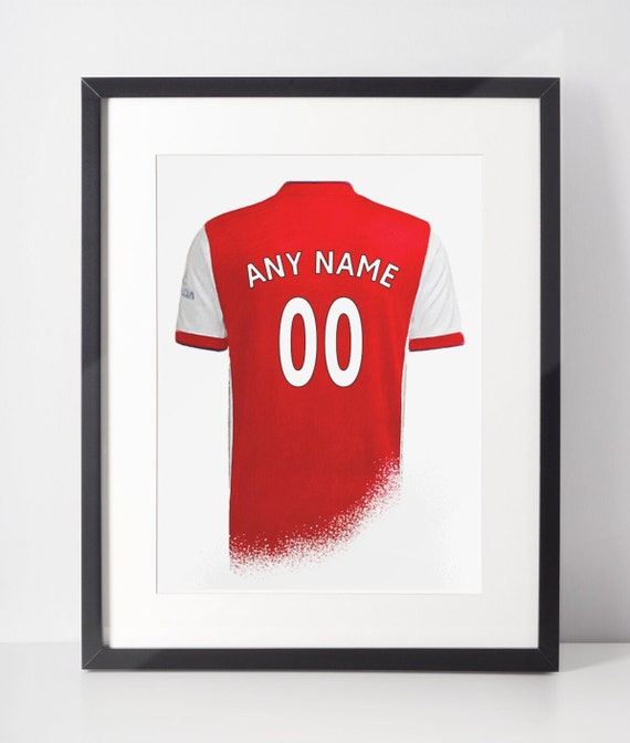 Custom Football Shirt Poster | Arsenal FC | Personalised | Wall Art Print | Gift Idea | A4 & A3 | 2021-2022 Home Kit | Print Only