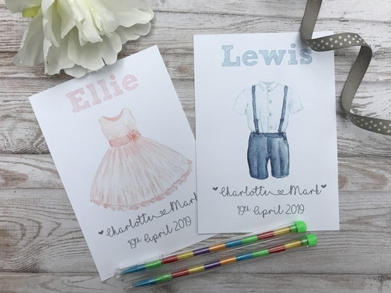 Children's Personalised Wedding Activity Pack Dress | Suit Kids Table Colouring A6 White