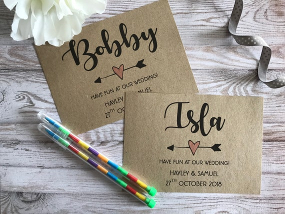 Personalised Children's Wedding Activity Pack Wedding Text Style A6 Brown