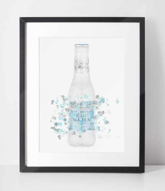 Gin Poster | Room Decor | Wall Art Print | Gift Idea | A4 & A3 | Blue Tonic Bottle | Print Only