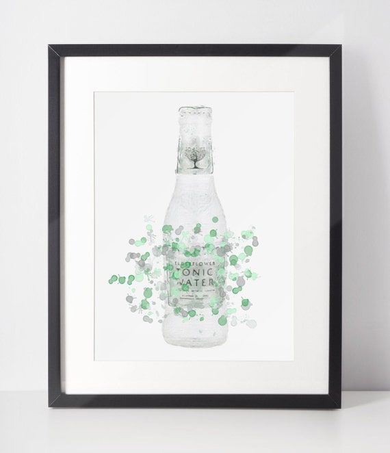 Gin Poster | Room Decor | Wall Art Print | Gift Idea | A4 & A3 | Green Tonic Bottle | Print Only