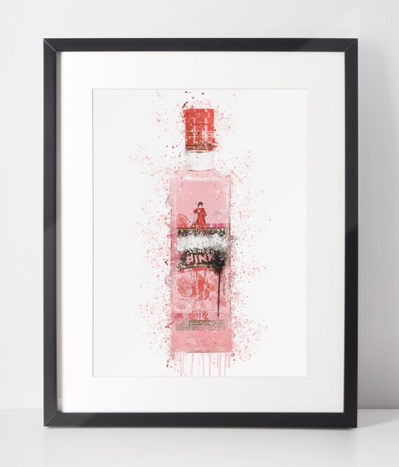 Gin Poster | Room Decor | Wall Art Print | Gift Idea | A4 & A3 | Wild Pink | Print Only
