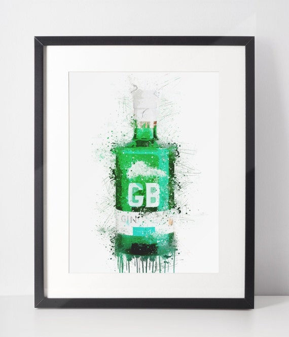 Gin Poster | Room Decor | Wall Art Print | Gift Idea | A4 & A3 | Racing Green | Print Only