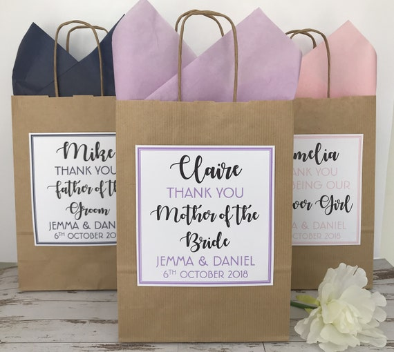 Personalised Brown Wedding Favour Gift Bag