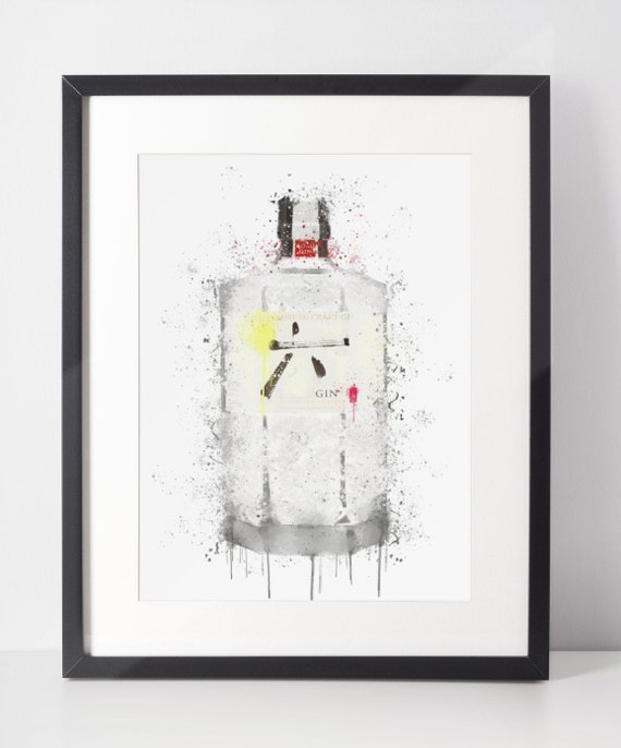 Gin Poster | Room Decor | Wall Art Print | Gift Idea | A4 & A3 | Yellow | Print Only