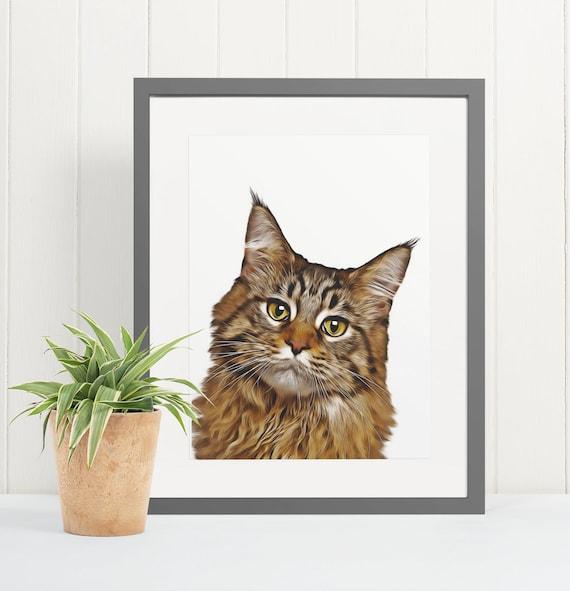 Maine Coon Cat | Art Print Poster | Room Decor | Wall Art Print | Gift Idea | A4 & A3 | Cats | Print Only