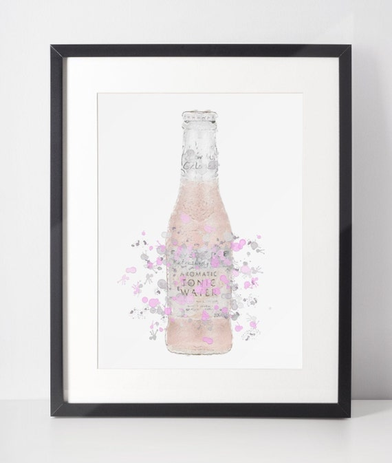 Gin Poster | Room Decor | Wall Art Print | Gift Idea | A4 & A3 | Pink Tonic Bottle | Print Only