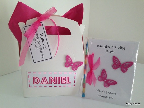 Children's Personalised Wedding Activity Box with Activity Book Pack Gift Favour A6 Butterfly