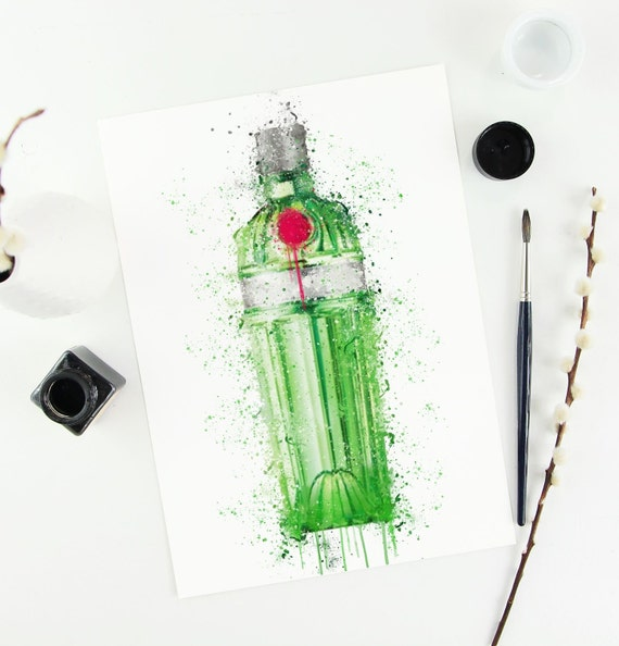 Gin Poster | Room Decor | Wall Art Print | Gift Idea | A4 & A3 | Green | Print Only