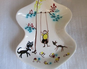 MID-cENTURY Pottery KITCHEN Decor hAND pAINTed Whimsy Spoon Rest signed ITALY