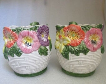 c7288ecc19 Vintage Pair of FITZ and FLOYD OMNIBUS Spring Flower Basket Majolica  Ceramic Mugs c 1995!