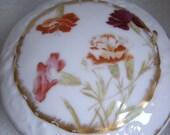 TRESSEMANES VOGT Limoges FRANCE Antique Porcelain Molded in Relief Powder Trinket Jar Lidded Signed circa 1900