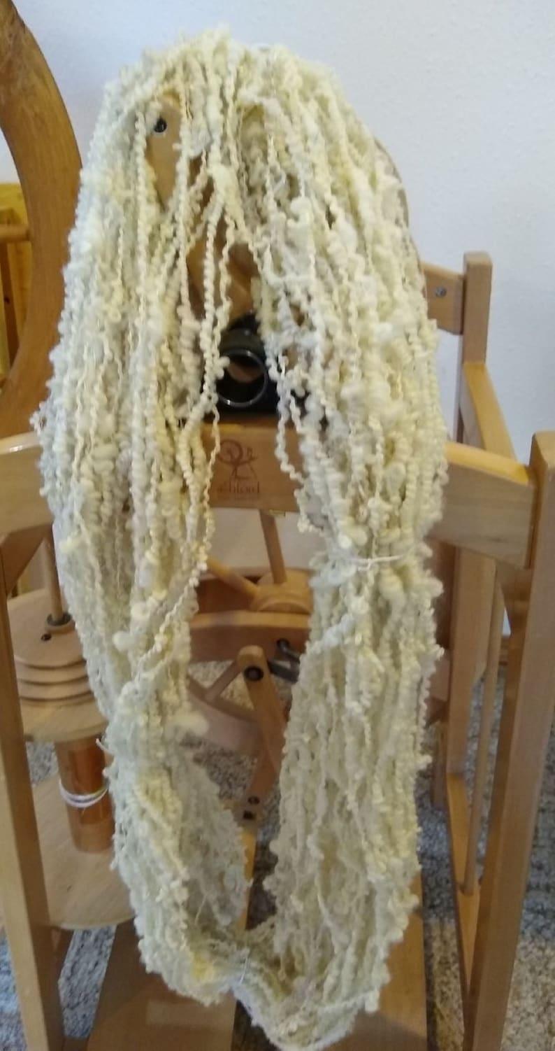 Handspun art yarn Boucle spun wool 1 skeins-90 yds