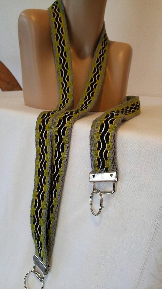 Longe à la main / ID Badge longe-professeur longe - nom porte Badge - mignon cordons tissés lanyard-green-black-yellow-white-grey