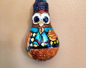 Hand Drawn & Painted Owl (Hooter) Light bulb