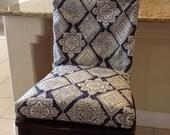 Esszimmer Stuhl Umfasst Rustikale Indigo Sitzfläche Blau Grau Und Weiß,  Kissen, Zweiteilige Stuhlhussen, Stuhlhussen Esszimmer Stuhl Sitzbezüge,  Waschbar