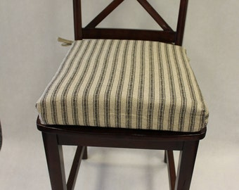 Chair Cushions Striped Hayes Ticking Fabric, Rustic Chair Pad, Stool Seat  Cushion, Padded Chair Cushions, Replacement Cushion