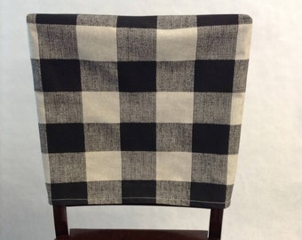 kitchen chair back covers. Chair Back Covers Anderson Black Linen Buffalo Plaid Check Fabric Kitchen Cover. Cottage Chic, Rustic Fitted Cover G