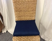 Rattan or Wicker Chair Cushions Premier Prints Jackson Oxford Navy - Kubo Chair Cushion- Chair Pads - 37 quot single wide ties