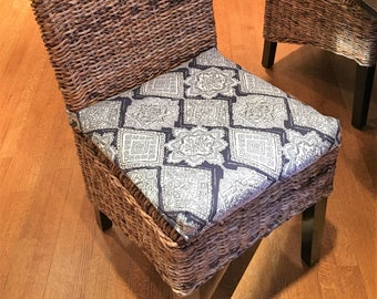 Rattan Or Wicker Chair Cushions Plaid Black And Cream Anderson Fabric,  Replacement Chair Cushion Rustic Chair Pad, Stool Seat Cushion