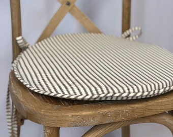 Charmant Ticking Fabric ROUND Chair Cushion, Rustic Tie Back Chair Cushion, Shabby  Chic Chair Cushion, Replacement Chair Pad, Round Chair Pad