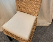 Rattan or Wicker Chair Cushions Linen or Flax Seat Cushion - Linen Cushions - Kubo Chair Cushion- Chair Pads - 37 quot single wide ties