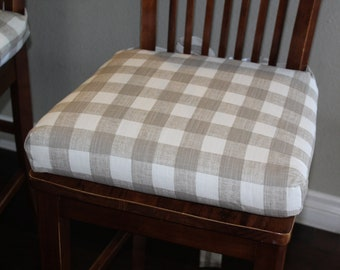 Charmant Plaid Chair Cushions Plaid Ecru And Cream Buffalo Check Chair Cushions.  Replacement Chair Cushion Rustic Chair Pad, Stool Seat Cushion