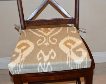ikat gray fabric seat cushion cover kitchen chair pad cover formal dining seat cushion cover counter bar stool seat pad cover washable - Kitchen Chair Pads