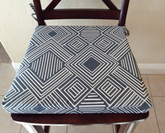 Geometric print seat cushion cover, kitchen chair pad, gunmetal blue/gray  on cream fabric Replacement chair cushion stool seat pad cover