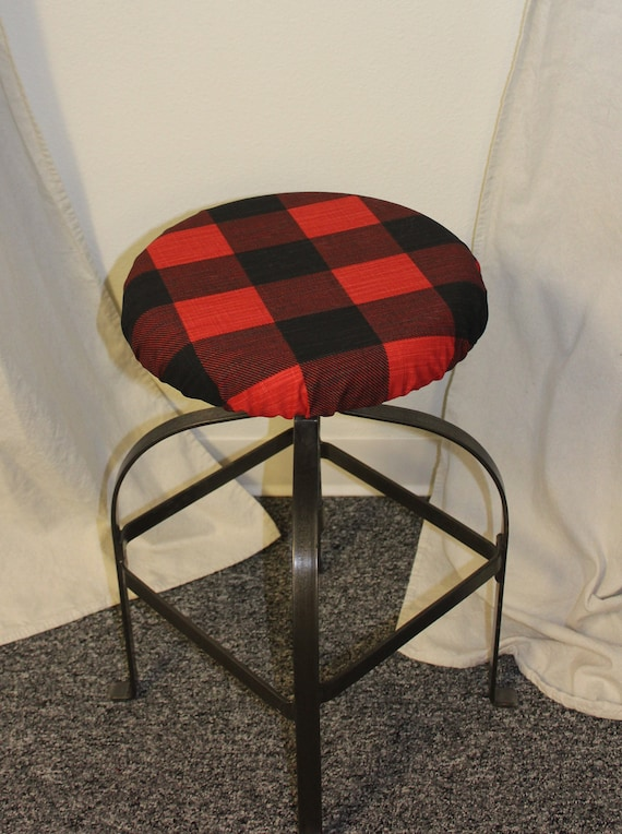 Round barstool cover with cushioned foam Elasticized, Black and Red Buffalo  Check fabric kitchen stool padded cover 12\