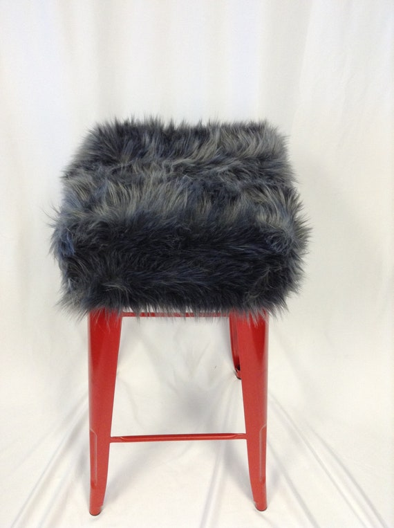 Enjoyable Faux Fur Square Bar Stool Slip Cover And Cushion Faux Fur Stool Cushion Cover Metal Stool Covers Grey Faux Fur Cover Vanity Stool Cover Pabps2019 Chair Design Images Pabps2019Com