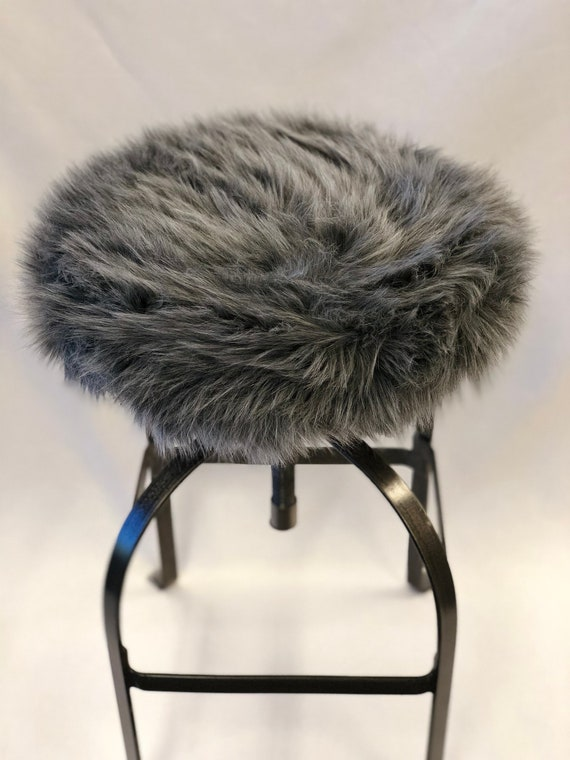Remarkable Faux Fur Luxury Shag Round Barstool Cover Kitchen Counter Stool Seat Cover Gray Vanity Stool Cover Removable Grey Faux Fur Cover Pdpeps Interior Chair Design Pdpepsorg