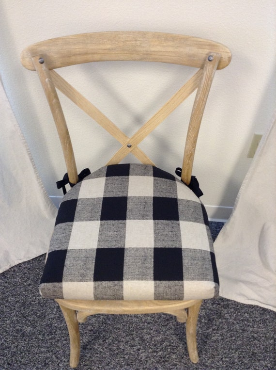 Wondrous Chair Cushions With Rounded Back And Ties Buffalo Check Black And White Fabric Farmhouse Cushions Kitchen Chair Pads Squirreltailoven Fun Painted Chair Ideas Images Squirreltailovenorg