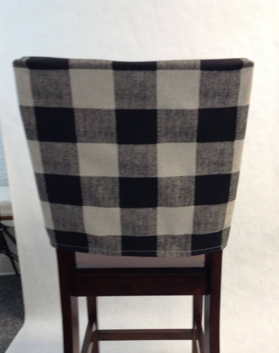 Excellent Chair Back Covers Anderson Black Linen Buffalo Plaid Check Fabric Kitchen Chair Back Cover Cottage Chic Rustic Fitted Cover Spiritservingveterans Wood Chair Design Ideas Spiritservingveteransorg
