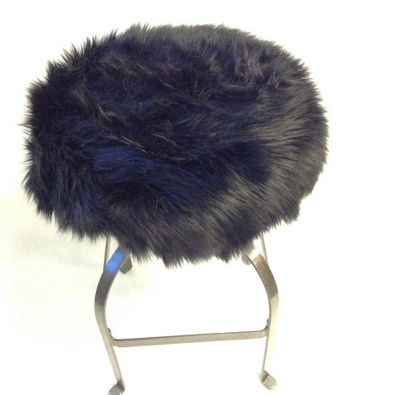 Awesome Faux Fur Luxury Shag Round Barstool Cover Kitchen Counter Stool Seat Cover Vanity Stool Cover Removable Black Faux Fur Cover Pabps2019 Chair Design Images Pabps2019Com