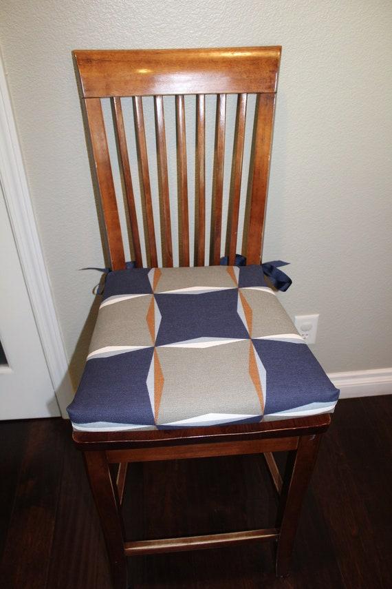 Sedia sedile cuscini, sostituzione sedia fodera per cuscino, sostituzione Custom cuscini blu grigio e bianco tessuto geometrico