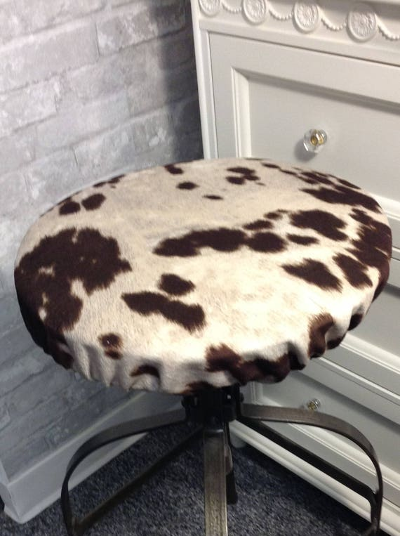 Tremendous Rustic Cow Print Round Bar Stool Cover Kitchen Stool Slipcover Farmhouse Chic Covers Fit Round Backless Stools 12 To 20 In Diameter Pabps2019 Chair Design Images Pabps2019Com