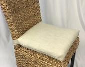 Rattan or Wicker Chair Cushions Premier Prints Unprinted Slub Linen White Cushions - Kubo Chair Cushion- Chair Pads - 37 quot single wide ties