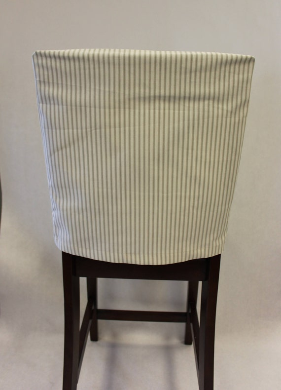 Chair Back Covers Classic French Ticking Stripes Ivory And Gray Kitchen Chair Back Cover Cottage Chic Rustic Fitted Cover