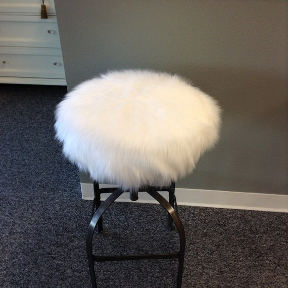 Outstanding Faux Fur Luxury Shag Round Barstool Cover Kitchen Counter Stool Seat Cover Vanity Stool Cover Removable White Faux Fur Cover Cover Only Pabps2019 Chair Design Images Pabps2019Com
