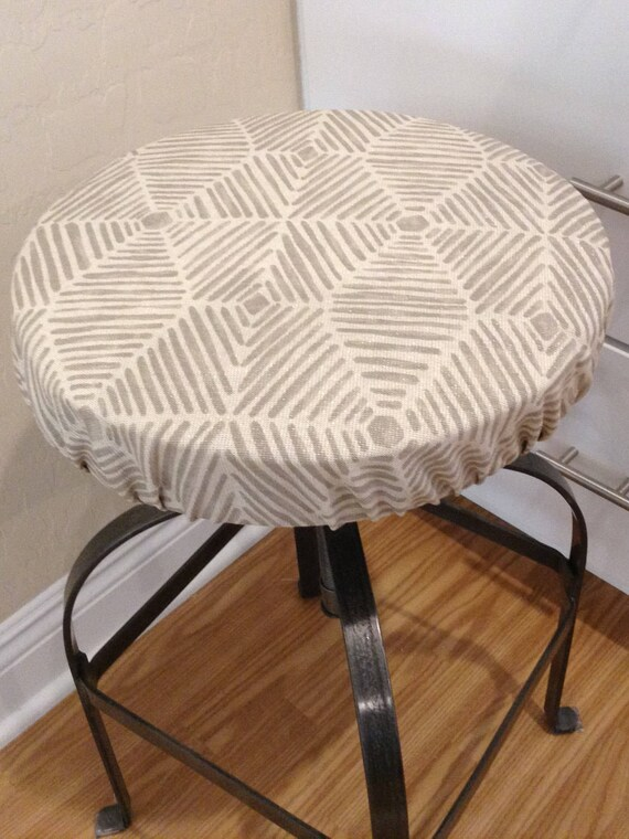 Groovy Round Barstool Cover With Cushioned Foam Elasticized Beige Ecru Lenox Kitchen Stool Padded Cover 12 To 20 Diameter Beatyapartments Chair Design Images Beatyapartmentscom