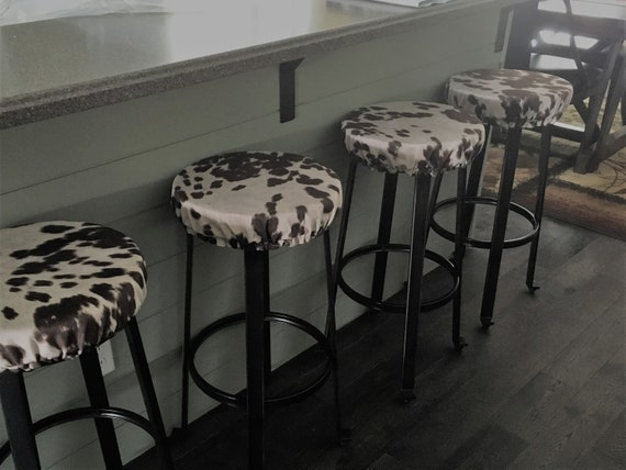 Swell Rustic Cow Print Round Bar Stool Cover Kitchen Stool Slipcover Farmhouse Chic Covers Fit Round Backless Stools 12 To 20 In Diameter Gmtry Best Dining Table And Chair Ideas Images Gmtryco