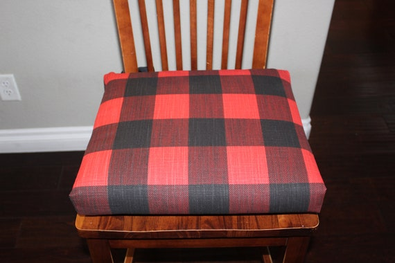 Chair Cushions Red and Black Plaid, Rustic Chair pad, Kitchen chair  slipcover, counter stool seat cushion, Farmhouse Christmas, Rustic