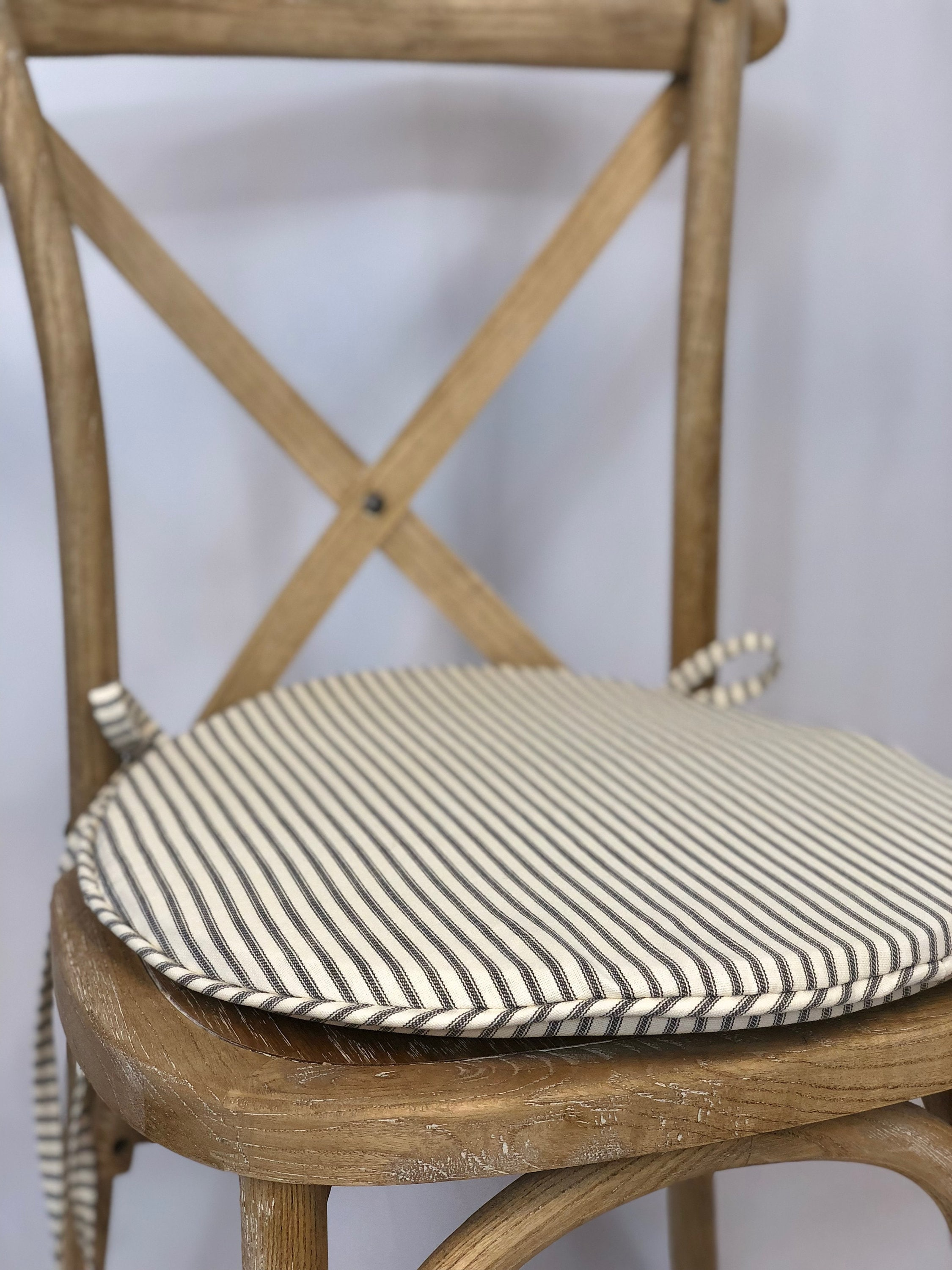 Round Bistro Cushion In French Ticking, Round Back Outdoor Chair Pads