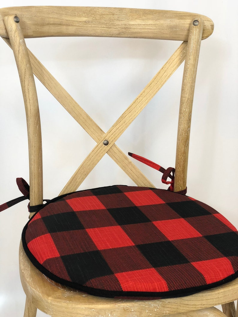 Bistro ROUND Chair Cushion, Bistro Chair Cushion Pad Round Bistro  Replacement Chair Pad, Round Chair Pad, Plaid Fabric Buffalo Check Fabric