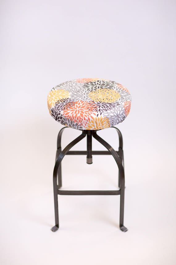 Astonishing Round Barstool Cover With Cushioned Foam Elasticized Orange Gray Brown And Yellow Kitchen Stool Padded Cover 12 To 20 Diameter Creativecarmelina Interior Chair Design Creativecarmelinacom