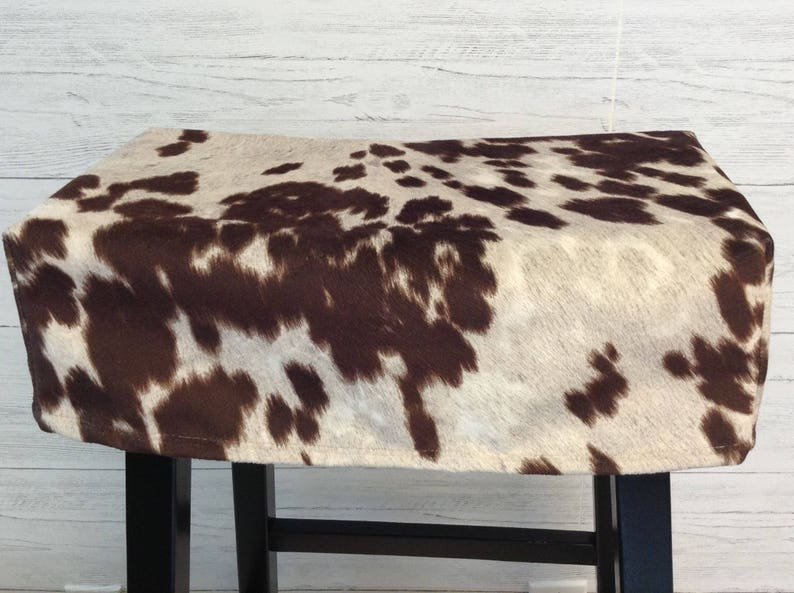 Faux cow fur saddle or square stool seat cover, rectangular stool cushion,  Udder Madness stool slipcover, washable, cream with brown spots