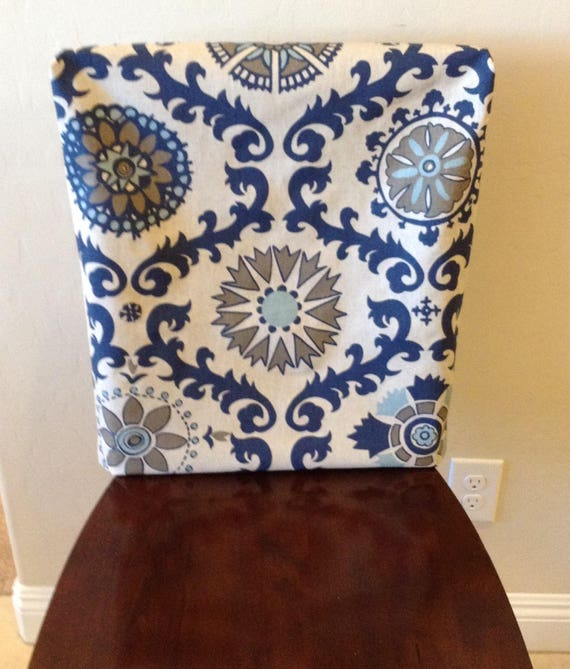 Cool Chair Back Cover Rustic Indigo And Natural Linen Kitchen Chair Slipcover Cottage Chic Armless Dining Chair Cover Washable Rosa Indigo Inzonedesignstudio Interior Chair Design Inzonedesignstudiocom